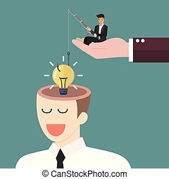 Businessman with fishing rod stealing lightbulb idea from a head