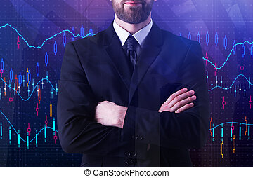 Broker and trade concept - Businessman with folded arms...