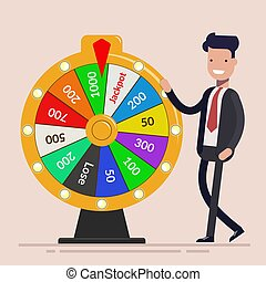 Businessman with Fortune wheel. Business concept. Flat vector illustration isolated on light background.