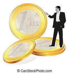 Businessman with four big Euro coi