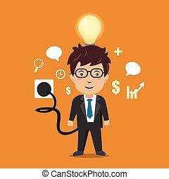 Businessman with full battery. Vector illustration.