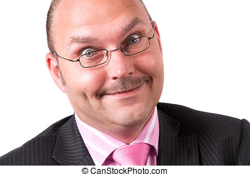 Businessman with funny face