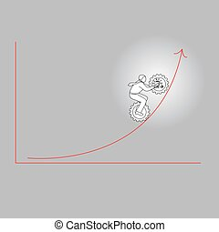 Businessman with gear of idea icon going to the high level graph vector illustration doodle sketch hand drawn with black lines isolated on gray background. Motivation business concept.