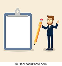 businessman with giant clipboard and pencil