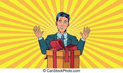 businessman with gift box pop art animation