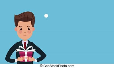 Businessman talking with giftbox over blue background High Definition animation colorful scenes