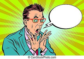 Businessman with glasses scared, shock reaction surprise. Pop art retro vector illustration