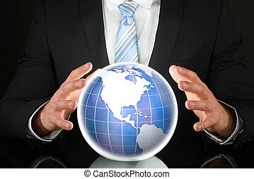 Businessman With Globe - Close-up Photo Of Businessman Hand...