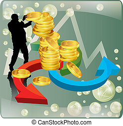 businessman with gold coins