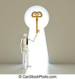 Businessman with golden key  into a gate shaped like a keyhole