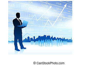 Businessman with graph and Skyline