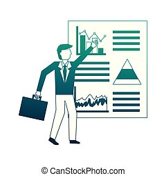 businessman with graph statistic avatar character