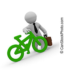 Businessman with green bike icon, 3d rendering