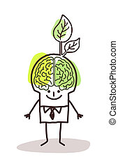 businessman with green brain and leaf