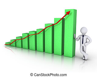 Businessman with green chart