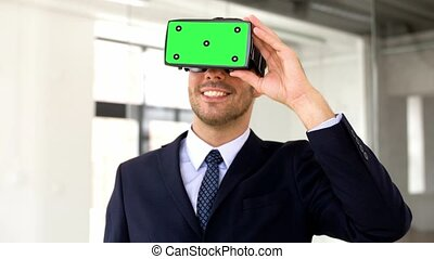 businessman with green screen on vr headset - business,...