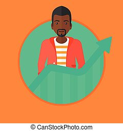 Businessman with growing chart vector illustration