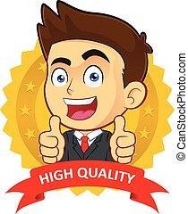 Businessman with Guarantee Icon