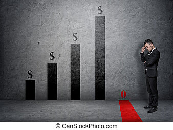 Businessman with hand on his forehead looking at fallen bar of the graph
