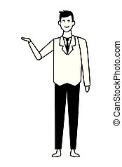businessman with hand open cartoon in black and white