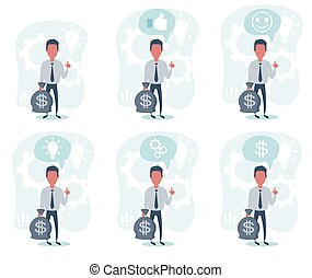 Businessman with hand up holding a bag of money. Full length view. Set.