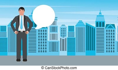 businessman with hands on waist talking with city background...