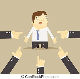 Businessman with hands pointing at him. Vector flat illustration