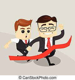 Businessman with hands up. Business Motivation Leadership. Happy Business man. Two business men. Running men.