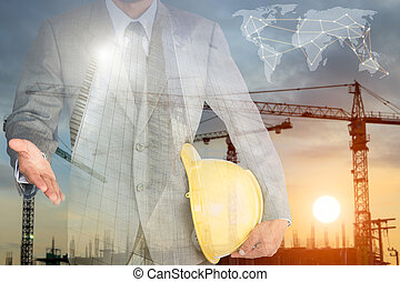 businessman with handshake to cooperation and construction build