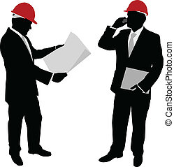 businessman with hard hat - vector