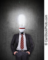 businessman with head lamp