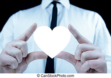 Businessman with heart icon