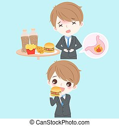 businessman with heartburn on the blue background