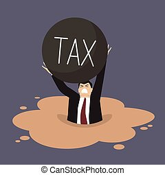 Businessman with heavy tax sinking in a quicksand