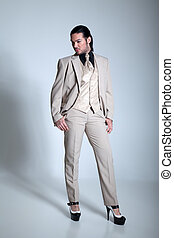 Businessman with high heels confide
