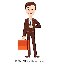 Businessman with his briefcase icon, cartoon style