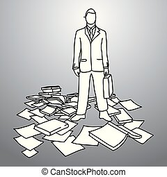 businessman with his briefcase standing among books and paper vector illustration doodle sketch hand drawn with black lines isolated on gray background. Business concept.