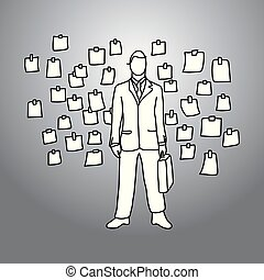 businessman with his briefcase standing among sticky paper notes hanging on the wall vector illustration doodle sketch hand drawn with black lines isolated on gray background. Business concept.