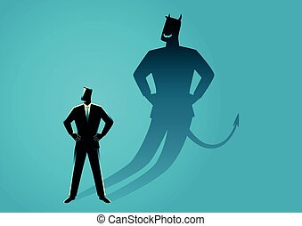 Businessman with his devil shadow