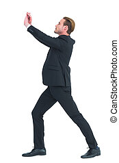 Businessman with his hands up
