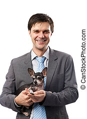Businessman with his pet