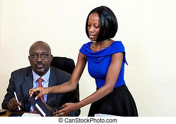 Businessman with his secretary