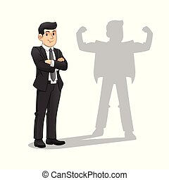 Businessman with His Strong Shadow