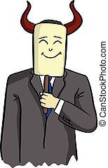 businessman with horn of devil holding smiling face mask...