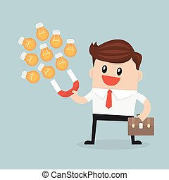 Businessman with horseshoe magnet collecting light bulbs