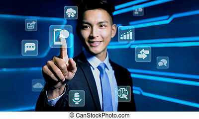 businessman with icon
