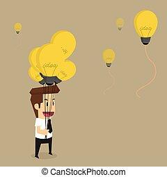 businessman with idea bulb balloon