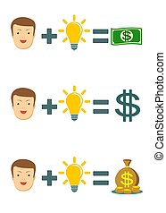 Businessman with idea bulb get a lot of money. Business creativity concept.
