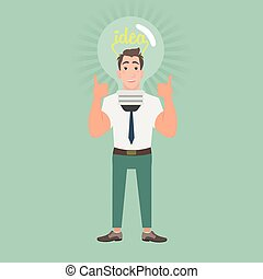 Businessman with idea bulb on the head
