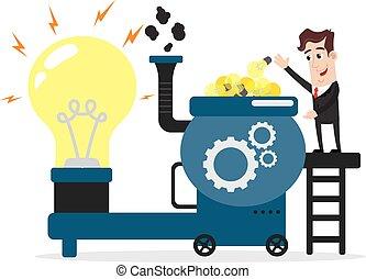 Businessman with idea bulbs machine